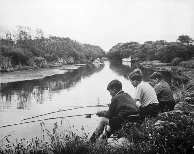 Brian McKeown, John Judge and Terry McKeown are shown fishing on the Avon River