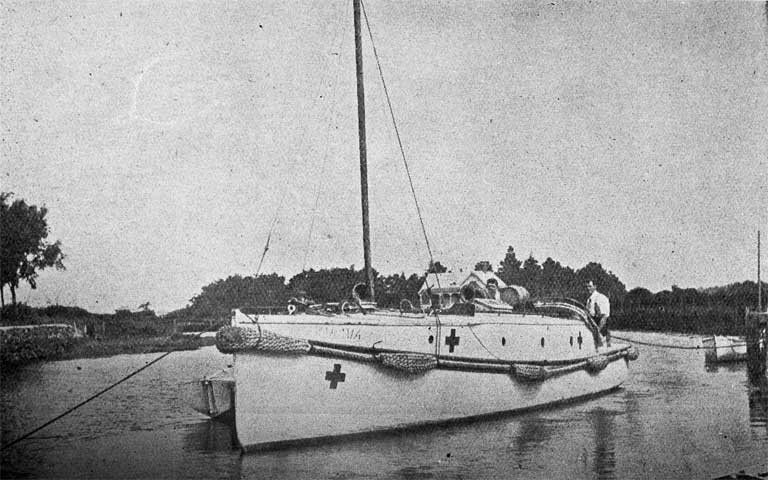 Home from its travels, the Nautilus of New Brighton, back in the New Brighton Motor-boat club's anchorage on the Avon after 2 1/2years' service with the hospital ship, Marama.