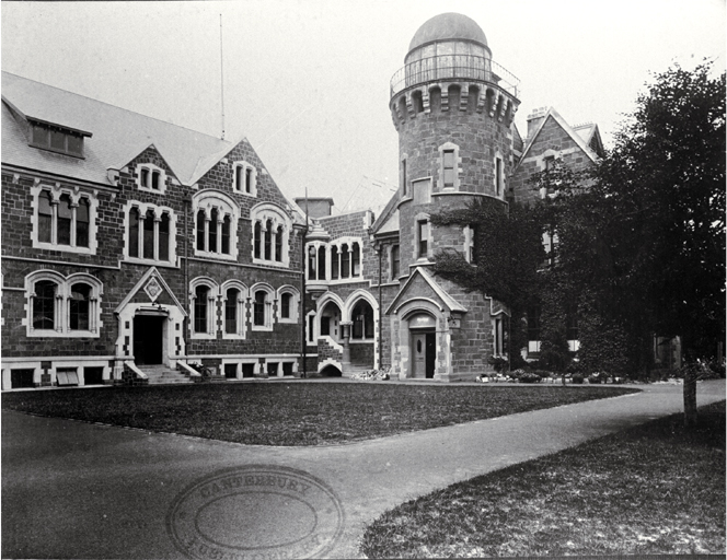 The Botany and Physics buildings and the Observatory of Canterbury College, University of New Zealand (now the Arts Centre)