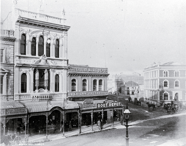 High Street, looking east down Cashel Street : Milner & Thompsons' music shop, Inglis Building, Union Steam Ship Co.