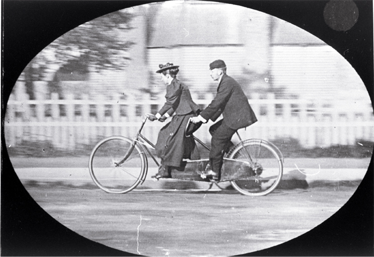 Mr & Mrs Preece on a tandem, trip to Dunedin