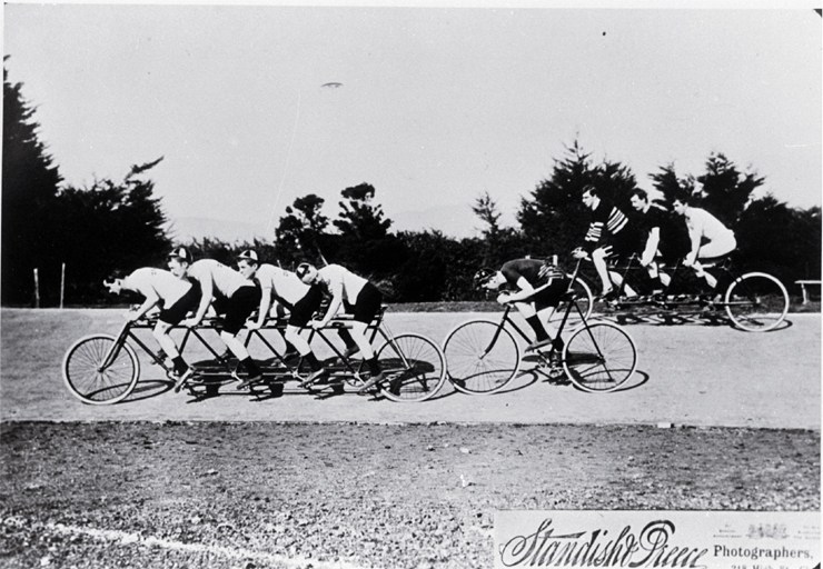 Clement Goodwin (Scorcher) Jones (1875?-1908) being paced by a quad team of cyclists at Lancaster Park