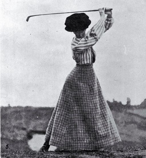 Photo of Miss Cowlishaw playing golf [Apr. 1908]