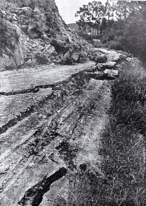 Scene of destruction caused by earthquake, 16 Nov. 1901 : a 2.5ft deep fissure on the road between Cheviot and Port Robinson.