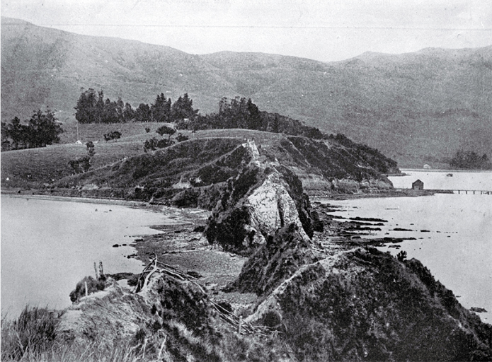 A historic spot in Akaroa Harbour at the neck of the Onawe Peninsula : remains of the Takapuneke Pa can still be seen.