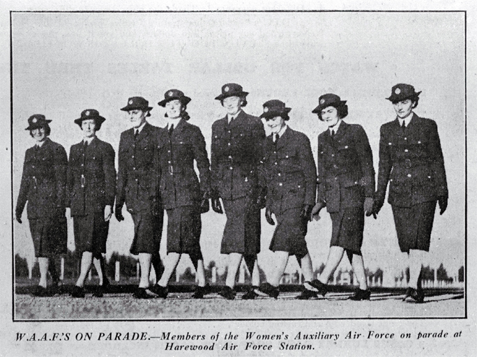 Women of the Women's Auxiliary Air Force (WAAFs) on parade at Harewood Air Force Station, Christchurch