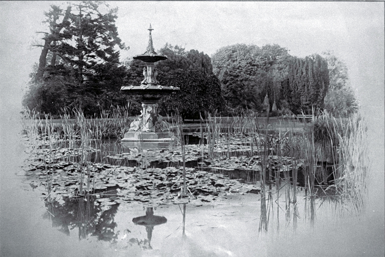 Peacock Fountain and lily pond, Botanic Gardens, Christchurch