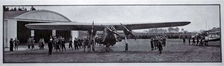 The Southern Cross. [Sept. 1928] Charles Kingsford-Smith (1897-1935) made the first Tasman flight from Sydney to Christchurch, arriving at Wigram Aerodrom on 10 Sept. 1928. His aircraft is pictured on arrival. Christchurch City Libraries, CCL PhotoCD 17, IMG0015