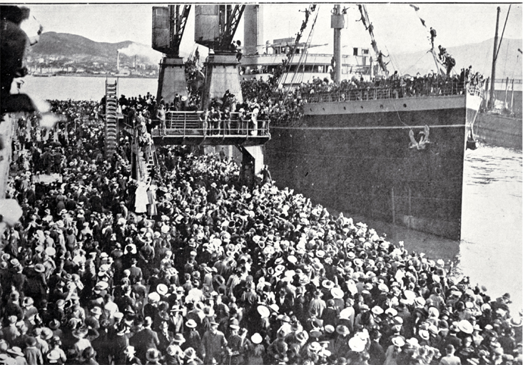 The departure of the 17th reinforcements and Maori details to join the ANZACs from Wellington : the transport clears the wharf. [1916] View more information File Reference CCL PhotoCD 2, IMG0033