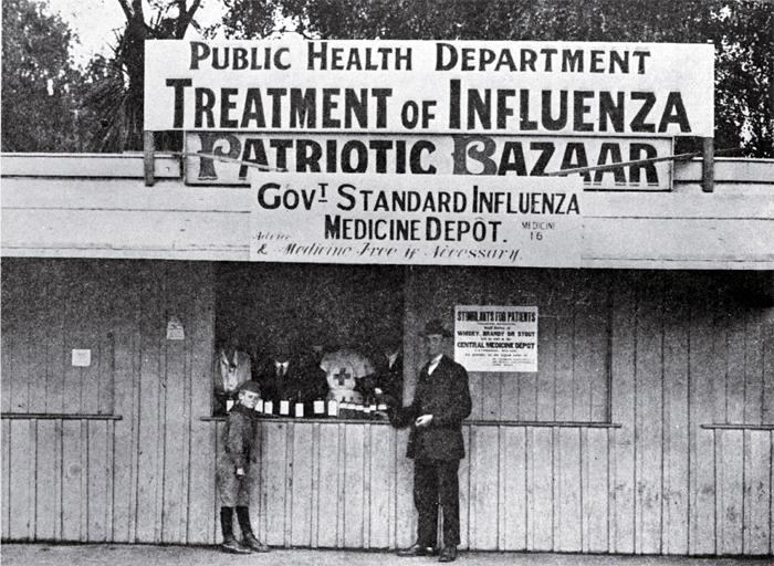 The medicine depot in Cathedral Square where the Government standard influenza medicine was supplied