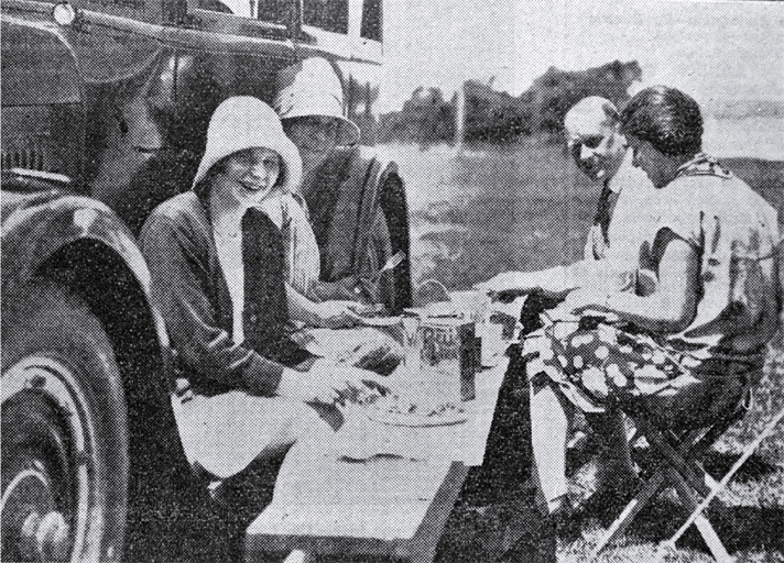 A family picnic on a summer's day at Addington Show Grounds' motorist's camping ground, Christchurch