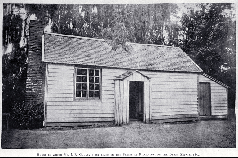 The house in which John Robert Godley first lived in Canterbury, on the Deans estate in Riccarton in 1852