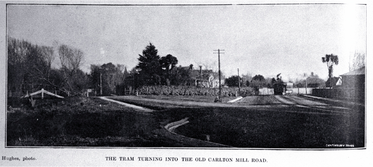 The Fendalton tram turning into the old Carlton Mill Road at the intersection with Harper Avenue and Park Terrace