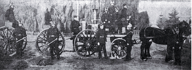 The old Chester Street fire brigade and some of the men who manned it