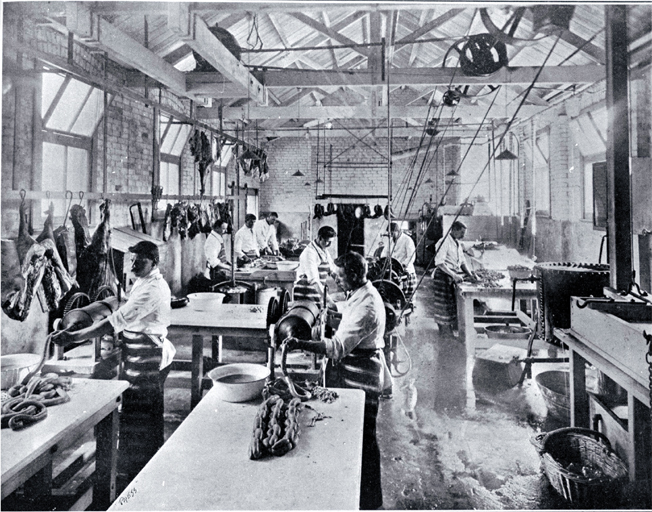 Photo of A small goods factory in Cashel Street, Christchurch : employees of the Christchurch Meat Co. Ltd. dicing meat and making sausages. [1905]