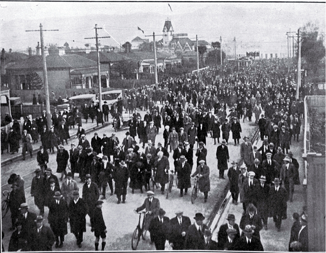 Some of the 13,000 spectators leaving Lancaster Park after the second test match between New South Wales and New Zealand, 1 Sept. 1923. CCL PhotoCD 8, IMG0076