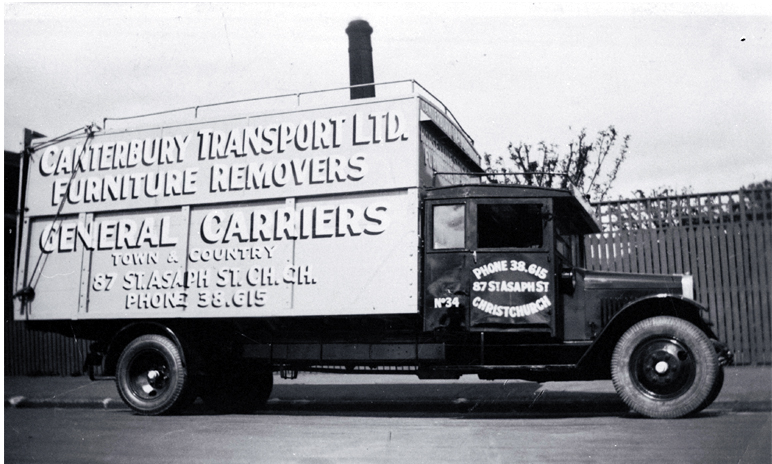 A truck belonging to Canterbury Transport Ltd, furniture removers and general carriers, 87 St Asaph Street, Christchurch