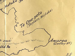 Taylor's Mistake on a 1894 Map of Māori place names of Banks Peninsula
